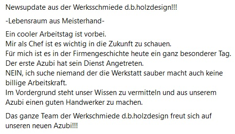 Azubi 2021 im Team der Werksschmiede d.b.holzdesign